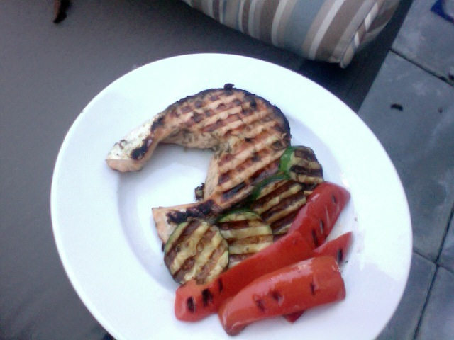 Grilled Garlic and Dill Salmon with Grilled Peppers and Zucchini